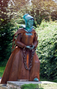 Statue of Alice Nutter, English woman accused of witchcraft. (Photo by Graham Demaline.)