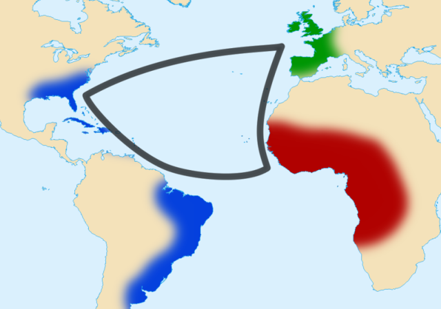 The triangular trade (Graphic by Sémhur)