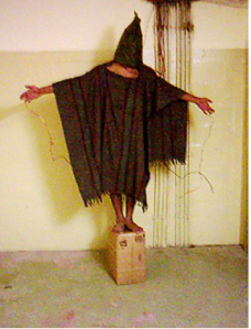 Photo of a Iraqi prisoner in Abu Ghraib